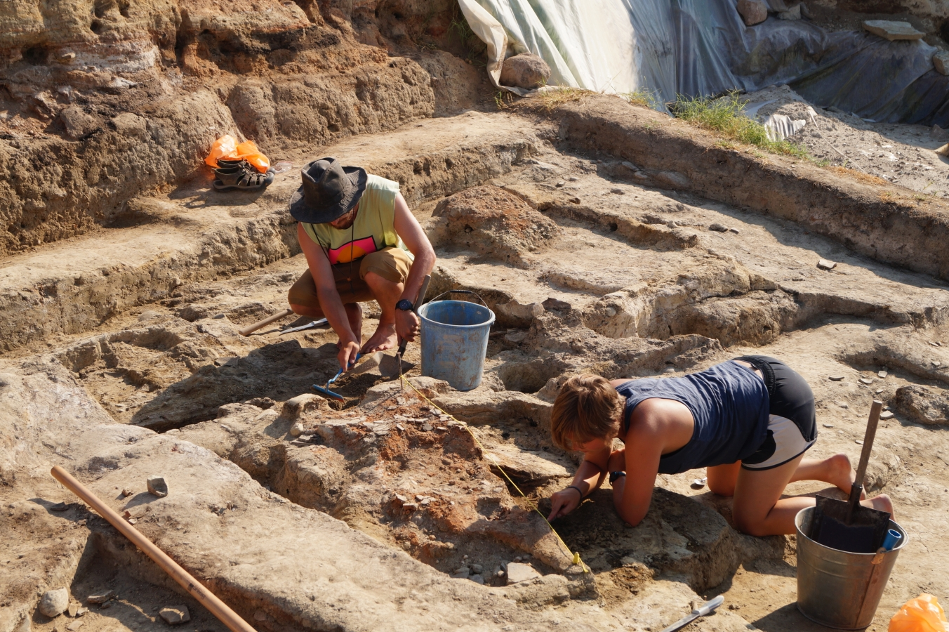 Archaeological excavation in progress.
